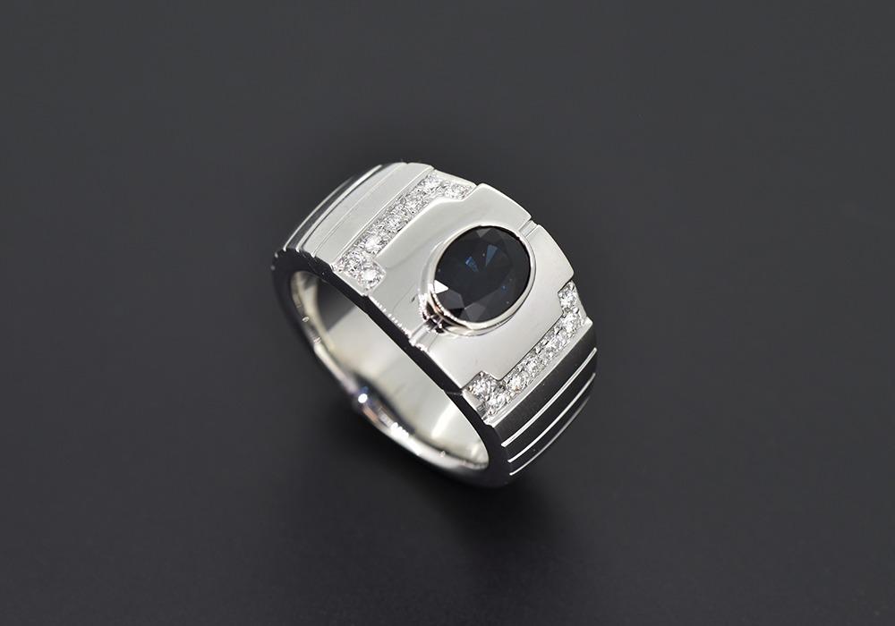 Pt900 サファイヤ メンズリング